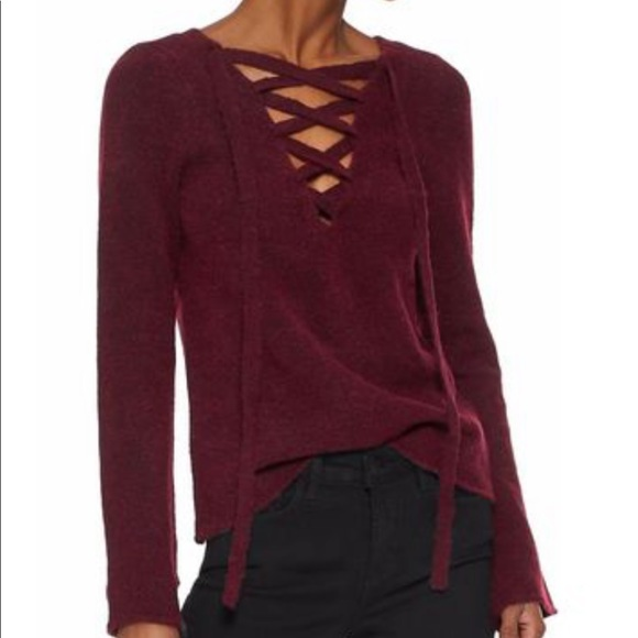 L'AGENCE Sweaters - Lace up sweater- burgundy